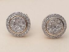 Mens Ladies 10K Yellow Gold 3D Circle Real Diamonds Domed Stud Earrings Small