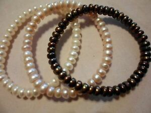 Pink-White-amp-Copper-Freshwater-Pearl-Set-of-3-Bracelets-Stretchable