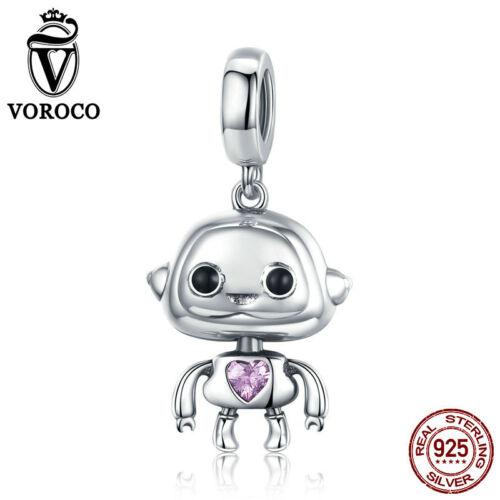 Voroco Argent Sterling 925 Robot Pendentif Charme Zircone Cubique Femmes Perle Bracelet Collier