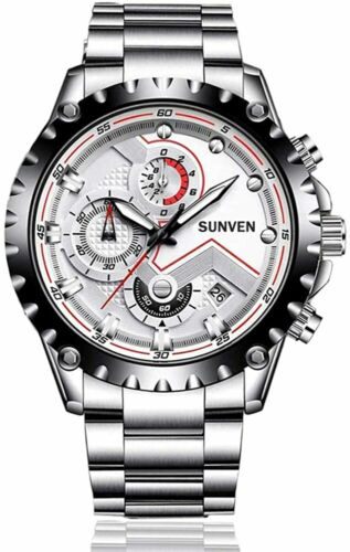 MENS QUARTZ WATER-RESISTANT WATCH, MILITARY STYLE SPORT CHRONOGRAPH WRISTWATCH