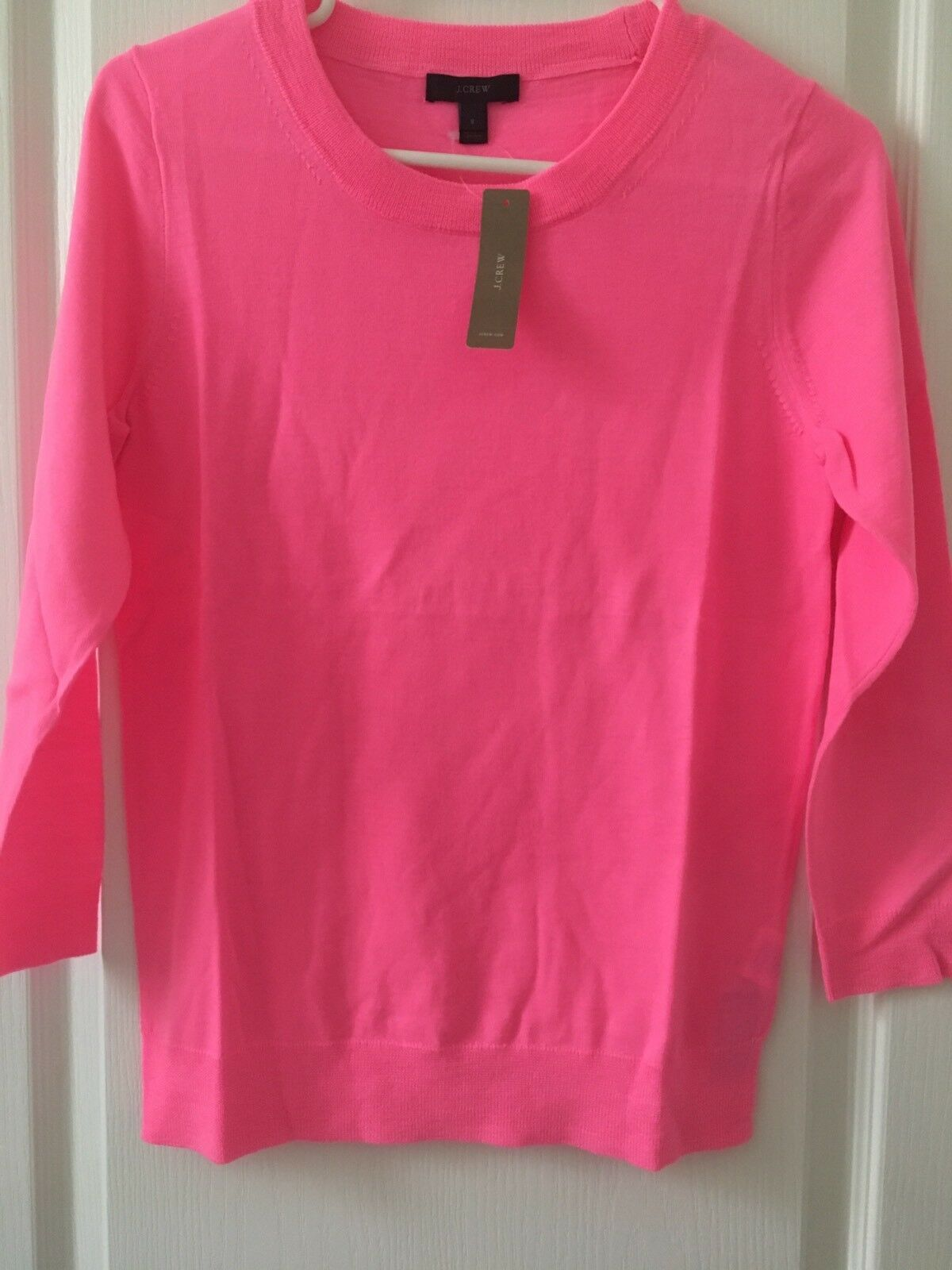 NWT JCrew Tippi Merino Wool Sweater Neon Geranium Pink S