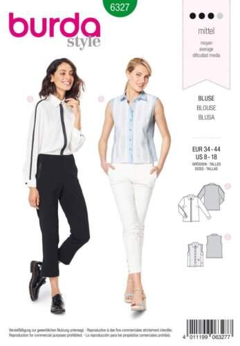 Patrones de corte burda 6327 blusa con rayas de contraste talla 34-44
