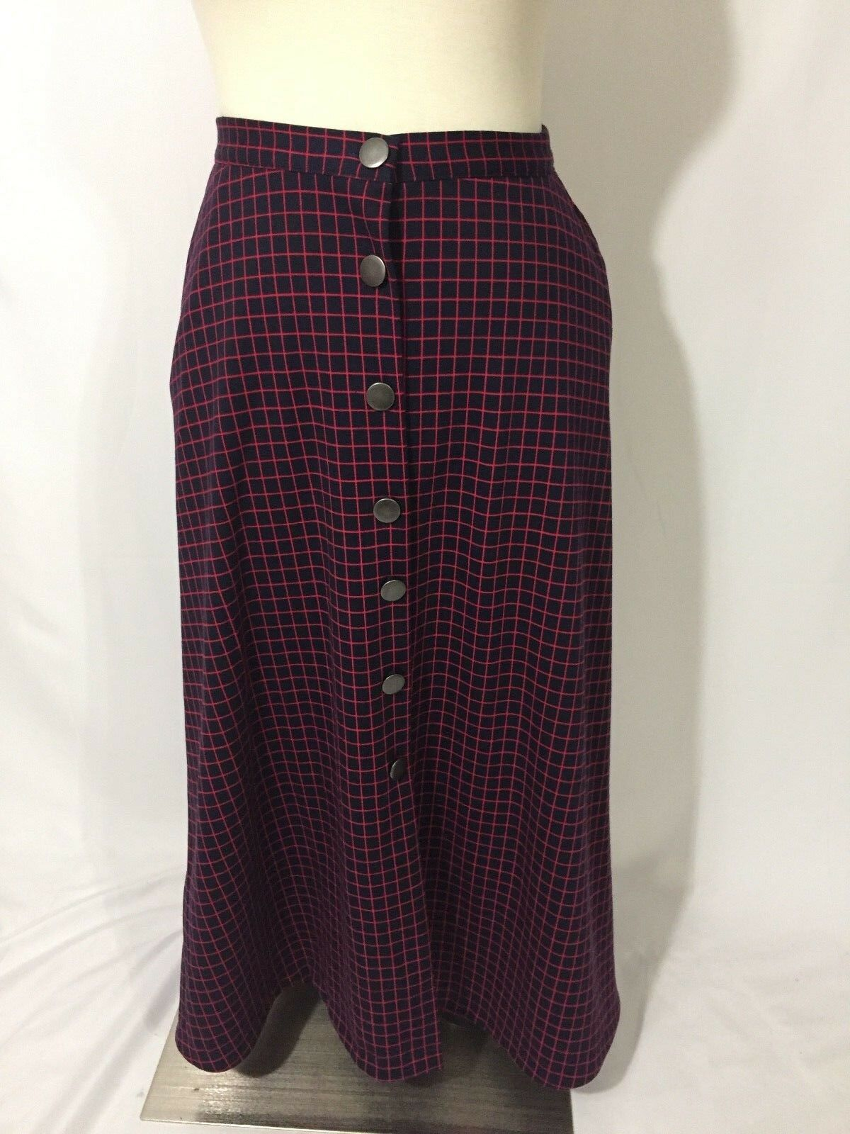 NEW NY Collection Retro Navy bluee Pink Windowpane Plaid Button Down Aline Skirt