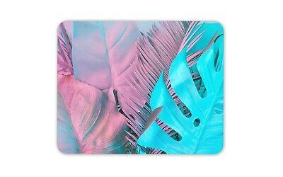 Rosa Blu Tropicale Foglie Tappetino Mouse Pad-studente Regalo Ragazze Divertente Computer #14063-