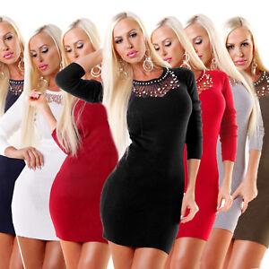 79d974a5f1 Das Bild wird geladen 4845-Sexy-Damen-Feinstrick-Kleid-Langarm-Minikleid- Strickkleid-