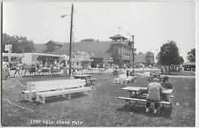 Ohio Real Photo RPPC Postcard Columbus 1992 State Fair Benches Food BARNS 31