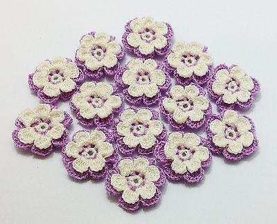 50 Pcs 2-Level Creamy White-Piurple Beautiful Flowers Crochet  Appliques Dolls