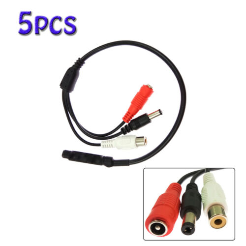 5pcs High Sensitive DC Audio Mini Mic Microphone for CCTV Security Camera DVR US