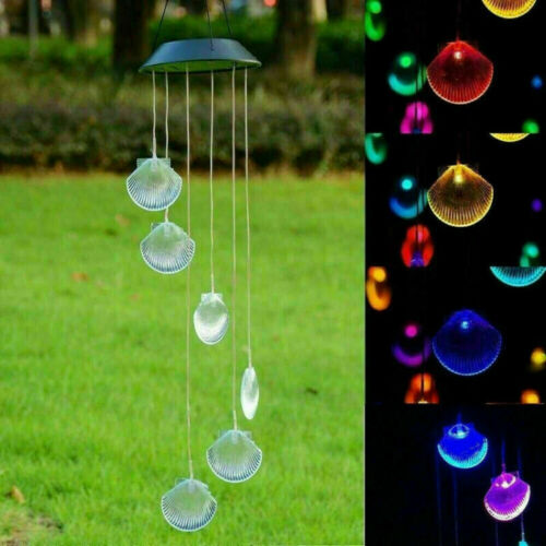 Solar LED Light Wind Chimes Powered Color Changing Home Garden Yard Decor Lamp