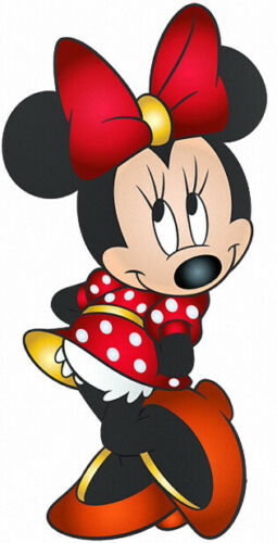 MINNIE MOUSE IN RED POKADOT DRESS WITH RED BOW VINYL WALL STICKER VARIOUS SIZES