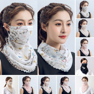 . Chiffon Face Cover Mouth Nose Cover Outdoor UV Protection Floral Shawl Veil