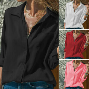 VONDA-Women-Long-Sleeve-V-Neck-Solid-Oversize-Buttons-Pocket-Tops-Blouse-T-Shirt