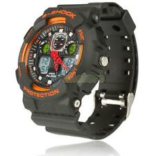 AK1055 Men Sport Diver Waterproof LED Digital Quartz Wrist Watch Orange Black