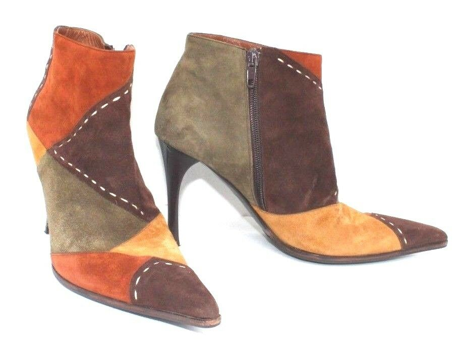 LERRE Suede Ankle Stiefel Patchwork Mint Multi Farbe Stiletto Heels Sz 36.5 - Mint Patchwork c3af87