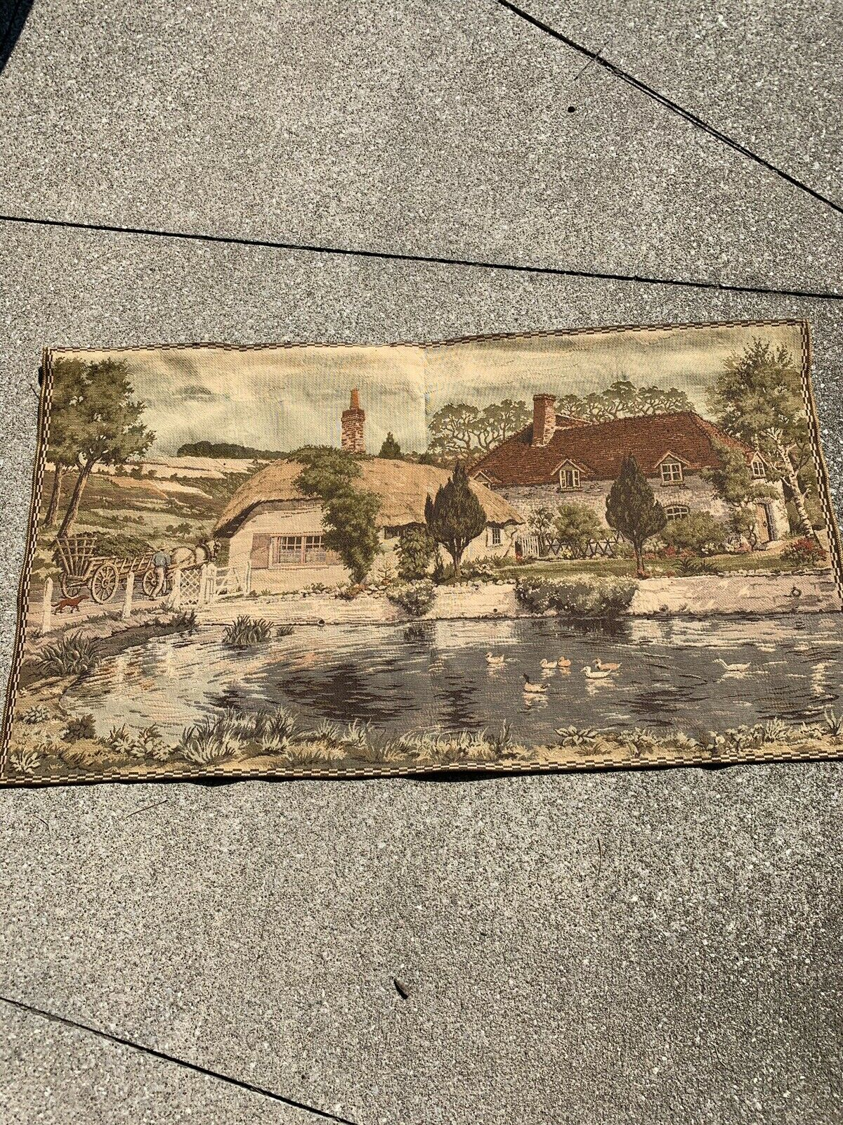 """Vintage Cloth Tapestry Wall Hanging - ENGLISH HOMESTEAD- Old World - 49"""" X 28"""""""