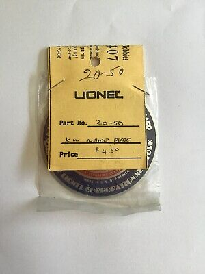 "self adhesive 20-50 Lionel KW Transformer 3/"" Medallion//Nameplate"