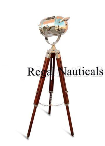 Chrome Marine Designer Spotlight Search Light Decorative Floor Lamp w//Wood