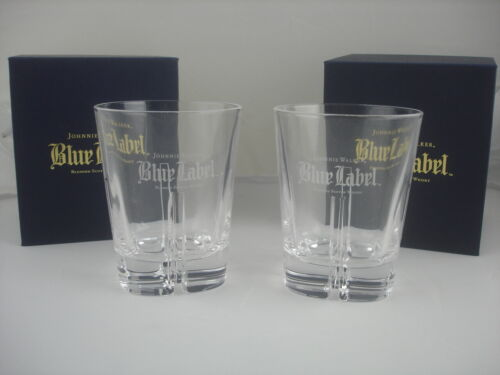 Johnnie Walker Whisky Blue Label Pair Glasses NEW in Box