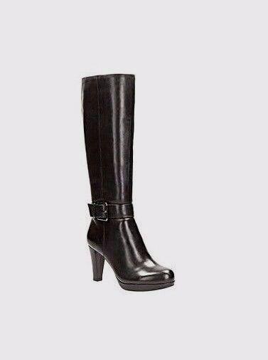 Nuevos zapatos para hombres y mujeres, descuento por tiempo mujeres limitado Nuevas mujeres tiempo de Cuero Clarks Botas Hasta La Rodilla Largo Kendra Negro Tacones Altos Forrado 519680
