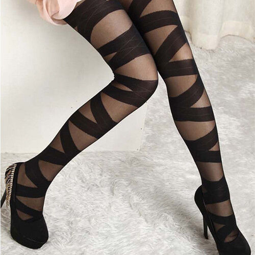 New Women Retro Sexy Black Ripped Stretch Legging Mock Stocking