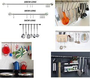 Cocina Utensilio barra de colgar Rack Organizador montado en la pared de acero inoxidable 10 Gancho  </span>