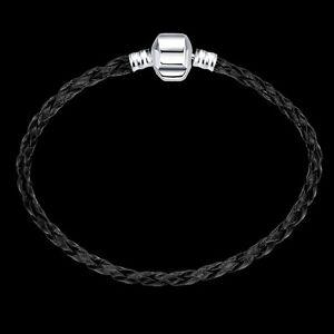 Black-Unisex-Jewelry-Beautiful-Silver-General-Rope-Bracelet-Bangle
