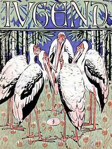 MAGAZINE-COVER-JUGEND-GERMANY-STORK-BIRD-EGG-GROUP-FINE-ART-PRINT-POSTER-CC3293