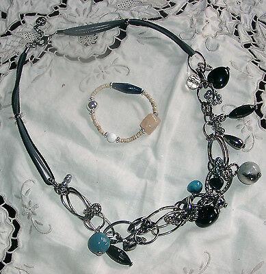 Halskette Mit Armband Perlen Lederband Kette Metall Zielstrebig Collier Neu