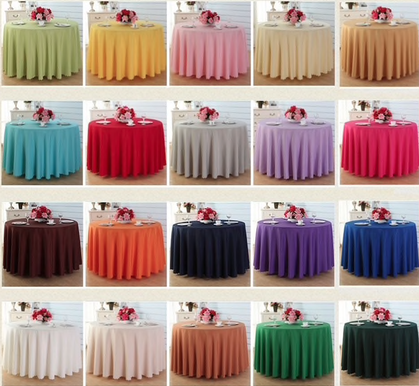 15 LOT 120  Pouces nappe Ronde 100% polyester Overlay 8 Couleurs Table 5 FT (environ 1.52 m)