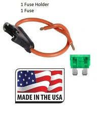 (1 PC) 12 GAUGE ATC FUSE HOLDER IN-LINE WITH (1 PC) 30 AMP FUSE Made in USA