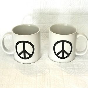 Global Design Connections Kate Williams Large Peace Sign Coffee Mugs