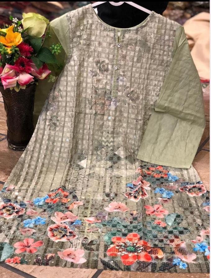 Lawn Cotton Embroidered Chiken kari sequin work Digital Print Party Wear for EID
