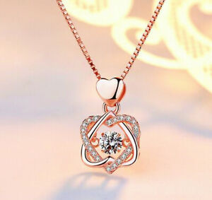 Rose-Gold-Heart-Pendant-925-Sterling-Silver-Chain-Necklace-Womens-Jewellery-Gift