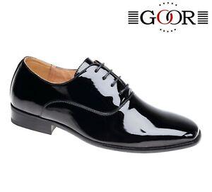 BOYS-SMART-Wedding-Lace-Shiny-Black-Patent-Shoes-Size-8-9-10-11-12-13-1-2-3-4-5