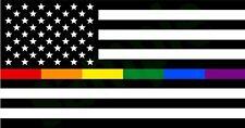 "2 Thin Rainbow Line USA B&W LGBT Decal Sticker 5""X 3"" USA Flag Gay Pride Respect"