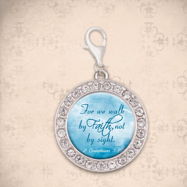 Glass Pendant Necklace Inspirational 2 Corinthians 5:7 Bible Verse