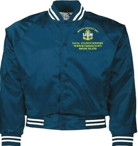 NAVAL STATION NEWPORT  RHODE ISLAND NAVY EMBROIDERED 2-SIDED SATIN JACKET