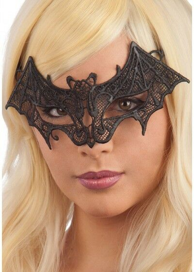 Halloween Black Lace Diamante Bat Mask On Headband Masquerade Fancy Dress EM409