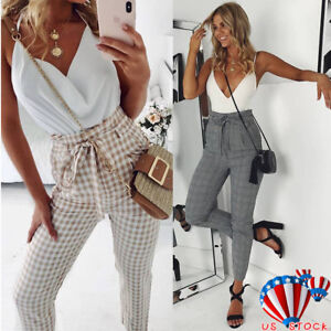 Womens-High-Waist-Paperbag-Trousers-Ladies-Plaid-Skinny-Casual-Cigaratte-Pants
