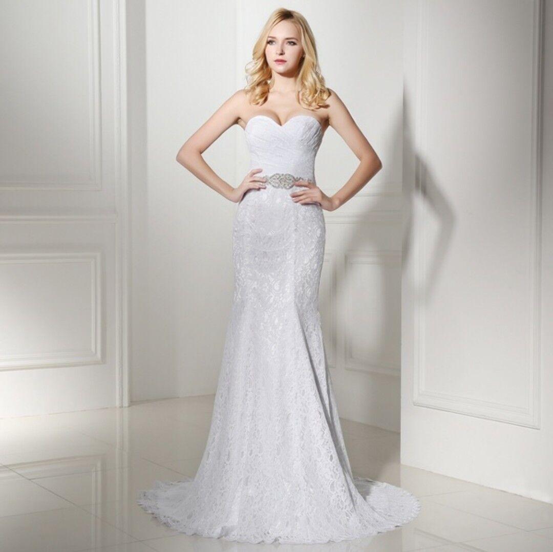 Brautkleid Hochzeitskleid Gr 38 Meerjungfrauenstil neu mit etikett weiss Spitze