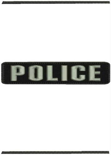 POLICE embroidery patches 1x5 hook on back silver letters
