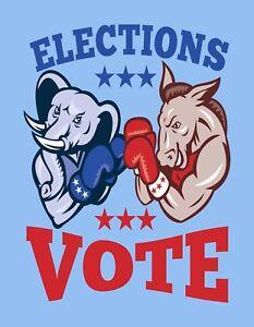 politics fridge magnet Democrat Blue Laminated Aprox 3.5 X 2.5 in