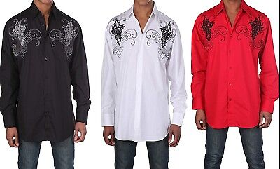 100% cotton embroidery designs Casual shirt, Black, White,  by Milano ModaSG42