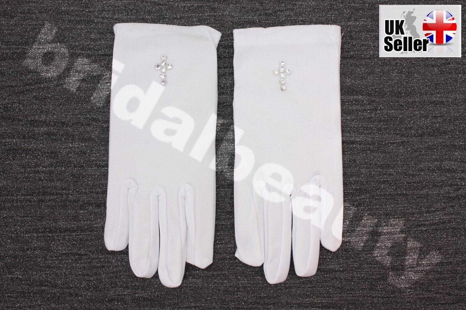 1st First Holy Communion Flower Girls Wedding Pageant Diamanté Cross Gloves Veil