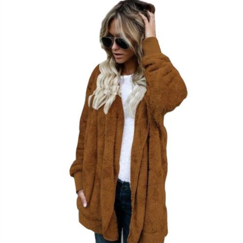 Damen Fleecejacke Flausch Long Chunky Strickjacke Mantel Sweater Kapuzenjacke 48