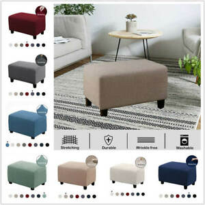 1x-Solid-Stretch-Ottoman-Slipcover-Sofa-Footstool-Cover-Storage-Protector