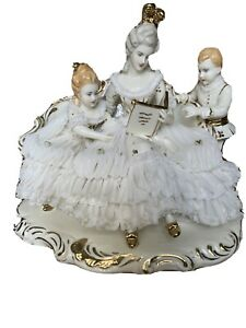 dresden-porcelain-lace-figurine-Victorian-Lady-Reading-To-Two-Children