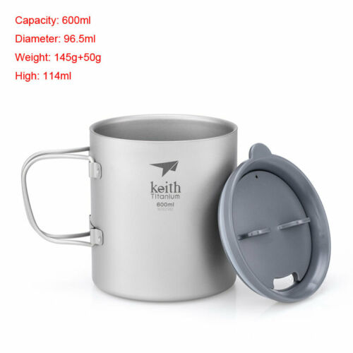 Keith Double Wall PURE Titanium Cup Folding Handle Mug with Safe Silicone Lid