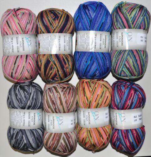 800g Sockenwolle Supersocke Online Season-Color 4-fach filzfrei Spar-Paket 1452
