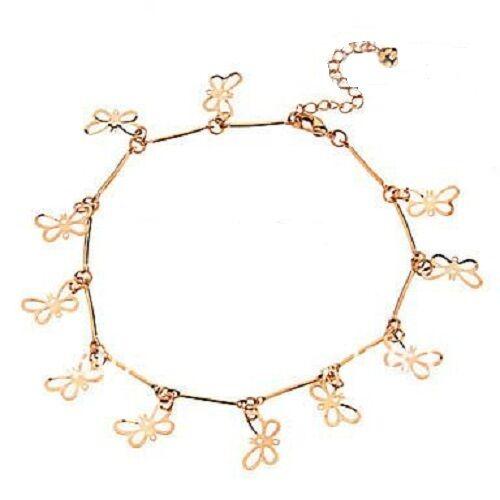 Gold Coloured Butterfly Ankle Bracelet Anklet Adjustable in velvet bag